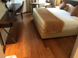 wooden flooring on hotel bedroom
